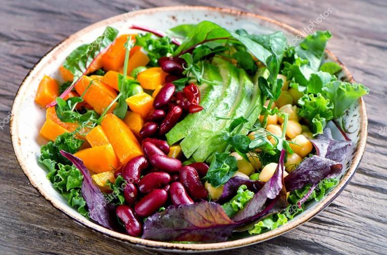 Healthy vegetarian nourishment bowl.  Balanced diet. Healthy food concept